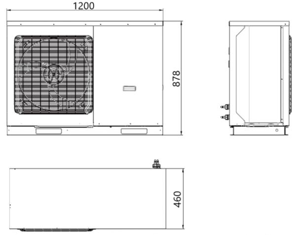 Wymiary powietrznej pompa ciepła, monoblok, Sinclair, SMH-100IRB